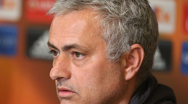 Manager Jose Mourinho of Manchester United speaks during a press conference at Constant Vanden Stock stadium on April 12, 2017 in Brussels, Belgium. (Photo by Matthew Peters/Man Utd via Getty Images)