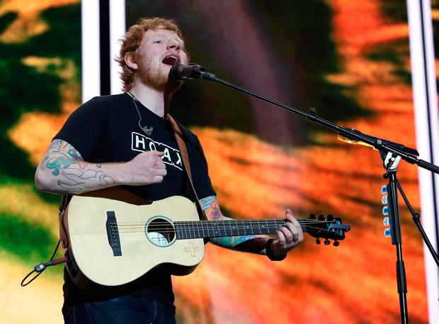 Ed Sheeran performing on stage last night. Picture: Damien Eagers