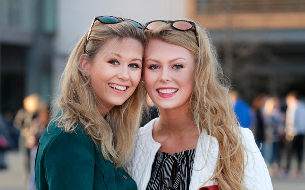 Grace Kelly, right, (18) and her sister, Emily (21) from Cork, before the concert. Picture: Damien Eagers