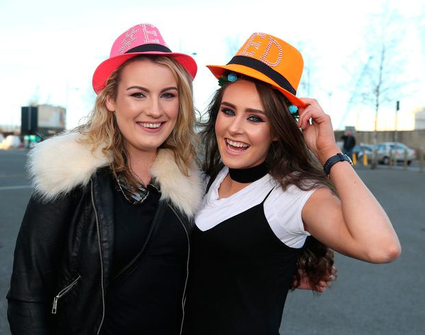 Caoimhe O'Connor, left, and Lisa Devaney from Galway. Photo: Damien Eagers