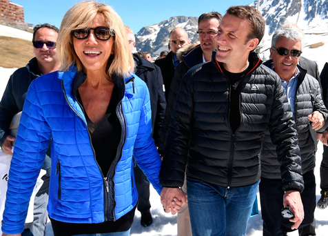 French presidential election candidate for the En Marche movement Emmanuel Macron, right, and his wife Brigitte Trogneux. Photo: Getty Images