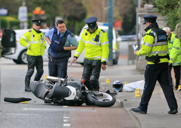 Gardai at the scene this morning of a serious motorcycle road traffic accident, which occurred at around 7.30am this morning on the Terenure Road East. Photo: Colin Keegan, Collins Dublin.