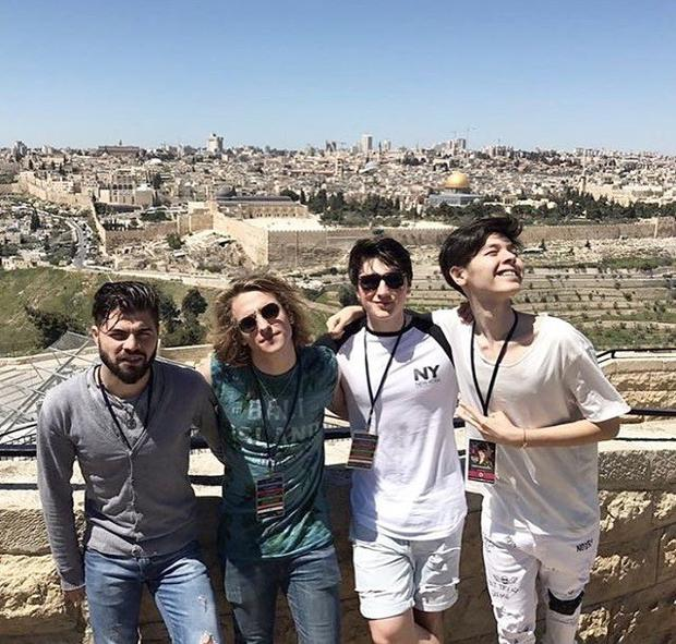 Brendan Murray (second from right) with Romania's Alex Florea, Spain's Manel Navarro and Bulgaria's Kristian Kostov in Jerusalem.