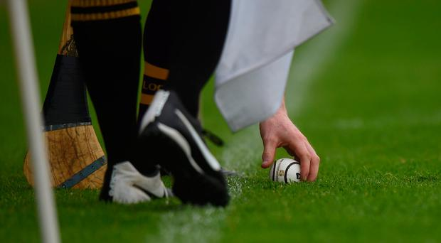14 June 2014; A Wexford player places the sliotar for a lineball. Leinster GAA Hurling Senior Championship, Semi-Final, Wexford v Dublin, Wexford Park, Wexford.