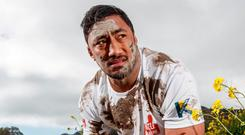 Bundee Aki was speaking at the launch of the new partnership between Kinetica Sports, Ireland's leading sports nutritional brand, and Hell & Back, Ireland's toughest physical and mental endurance. Photo: INPHO/James Crombie