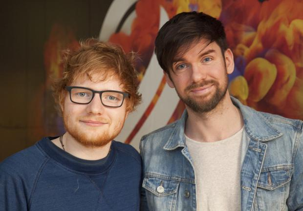 Ed Sheeran with Eoghan McDermott at the RTE radio centre
