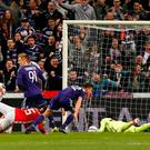 Football Soccer - RSC Anderlecht v Manchester United - UEFA Europa League Quarter Final First Leg - Constant Vanden Stock Stadium, Brussells, Belgium - 13/4/17 Anderlecht's Leander Dendoncker scores their first goal Reuters / Francois Lenoir Livepic