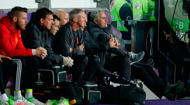 Manchester United manager Jose Mourinho was a frustrated figure on the bench. Photo: REUTERS