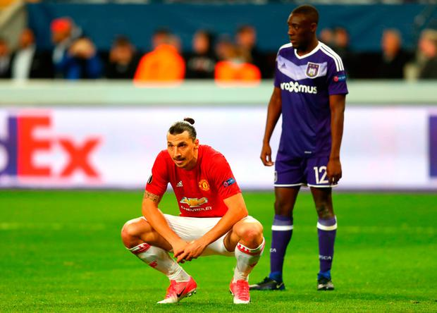 Zlatan Ibrahimovic looks dejected after Anderlecht's late equaliser. Photo: GETTY