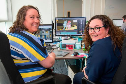Aoife Doyle and Niamh Herrity at their Pink Kong Studios on Sheriff Street. Photo: Colin O'Riordan.