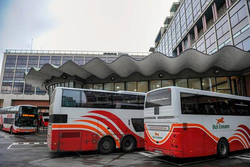 Bus Éireann was back on the road last night after the strike Photo: Barry Cronin/PA