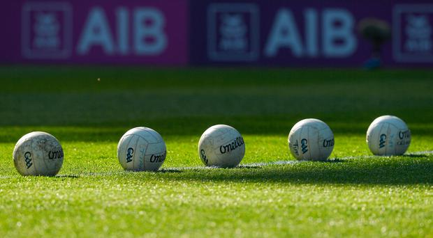 8 April 2017; Gaelic footballs lie on the pitch before the Allianz Football League Division 3 Final match between Louth and Tipperary at Croke Park in Dublin. Photo by Ray McManus/Sportsfile