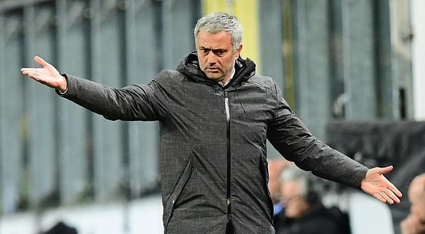 Manchester United's manager Jose Mourinho reacts during the UEFA Europa League first leg quarter final football match between Anderlecht and Manchester United at the Constant Vanden Stock stadium in Brussels on April 13, 2017. / AFP PHOTO / EMMANUEL DUNAND