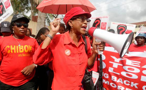 Bring back our girls campaigners chant slogans during a protest ( (AP Photo/ Sunday Alamba)