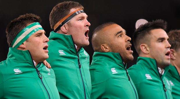 19 November 2016; Ireland players, from left, CJ Stander, Donnacha Ryan, Simon Zebo and Conor Murray sing the national anthem ahead of the Autumn International match between Ireland and New Zealand at the Aviva Stadium in Dublin. Photo by Brendan Moran/Sportsfile