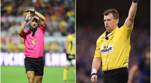 Romain Poite (left) and Nigel Owens (right).