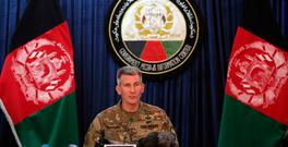 Commander of the Resolute Support mission and U.S. Forces in Afghanistan, Gen. John W. Nicholson speaks during a press conference, in Kabul, Afghanistan