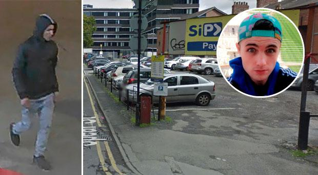 The man police wish to speak to (left). Spear street where Dylan Crawford (inset) was found (right).