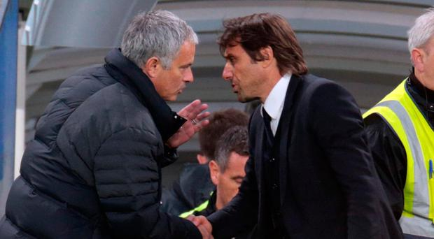 Jose Mourinho and Antonio Conte during their first meeting of the season. Photo: Getty
