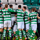 Shamrock Rovers players celebrate after Brendan Miele scored their first goal