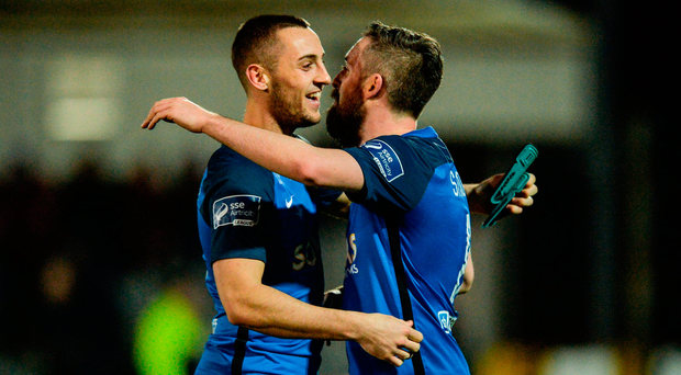 Dylan Connolly, left, and Mark Salmon of Bray Wanderers celebrate
