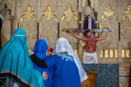 Performers at the annual Good Friday passion play at St Catherine's Church, Meath Street, Dublin. Photo: Mark Condren
