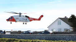 An Irish Coast Guard Helicopter lifts off from Blacksod Pier Picture: Steve Humphreys