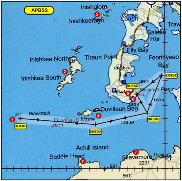 The operator's route guide for Blacksod, which the Crew of R116 was using at the time of the accident. The route guide includes an associated separate page of text setting out waypoint designations and coordinates, hazards and obstacles and other general comments. This page identified a lighthouse at Black Rock with an associated height of 310 ft.