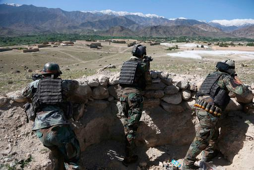 Afghan commandos in Pandola village near the site of a US bombing in the Achin district of Jalalabad, Afghanistan. Photo: PA