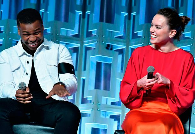 Actors John Boyega and Ridley speaking at 'Star Wars Celebration' in Florida yesterday. Photo: Getty