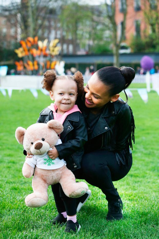 Samantha Mumba and her daughter Sage during an Egg & Spoon race as part of the Cadbury Easter Egg Hunt in aid of Barnardos at Merrion Square, Dublin. Picture: Gareth Chaney Collins