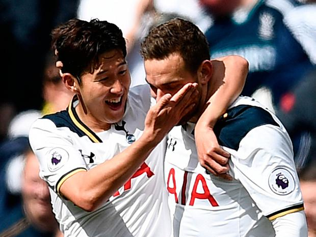 Tottenham's Vincent Janssen celebrates scoring their fourth goal with Son Heung-min