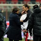 Former Juventus FC head coach Antonio Conte and Zlatan Ibrahimovic of AC Milan during the Tim Cup match between AC Milan and Juventus FC at Giuseppe Meazza Stadium on February 8, 2012 in Milan, Italy. (Photo by Claudio Villa/Getty Images)
