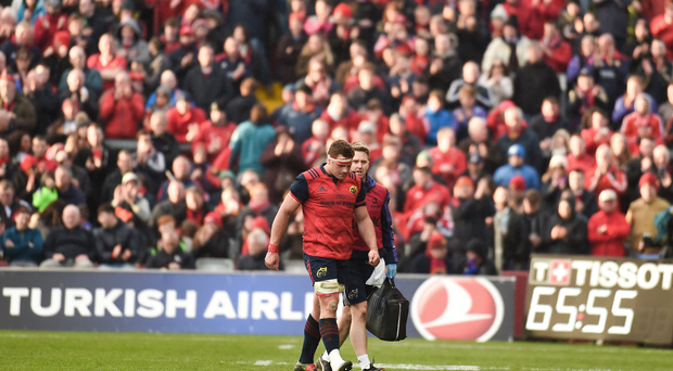 CJ Stander of Munster makes his way off the pitch during the European Rugby Champions Cup Quarter-Final match between Munster and Toulouse at Thomond Park, in Limerick. Photo by Eóin Noonan/Sportsfile