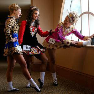 From left to right are, Melanie mark, kim bell, and emily wheeler, from the ardan academy's in Detroit, USA, at the World Irish Dancing Championships in Citywest, Dublin. Picture credit; Damien Eagers 15/4/2017