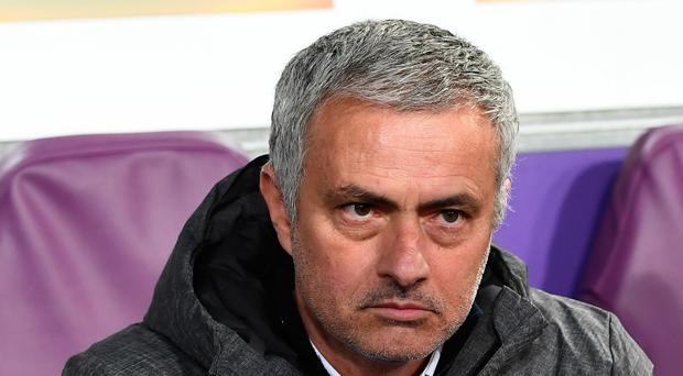 Manchester United's manager José Mourinho looks on during the UEFA Europa League match between Anderlecht and Manchester United at the Constant Vanden Stock stadium in Brussels on April 13, 2017. / AFP PHOTO / EMMANUEL DUNANDEMMANUEL DUNAND/AFP/Getty Images
