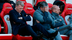 David Moyes shows the strain as Sunderland's relegation woes deepened. Photo: Reuters