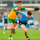 Dublin's Brian Howard in action against Eoghan Bán Gallagher of Donegal Photo: Piaras Ó Mídheach/Sportsfile