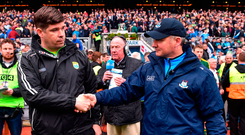 Kerry manager Eamonn Fitzmaurice shakes hands with Dublin manager Jim Gavin Photo: Ramsey Cardy/Sportsfile