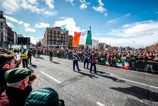 REMEMBERING: Easter Rising Centenary Celebrations on O'Connell Street Bridge, Dublin, in 2016. Photo: Conor McCabe