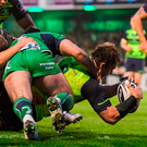 Rhys Ruddock of goes over to score Leinster's fourth try against Connacht at The Sportsground Photo: Stephen McCarthy/Sportsfile