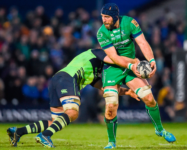 John Muldoon of Connacht is tackled by Leinster player Dominic Ryan Photo: Seb Daly/Sportsfile