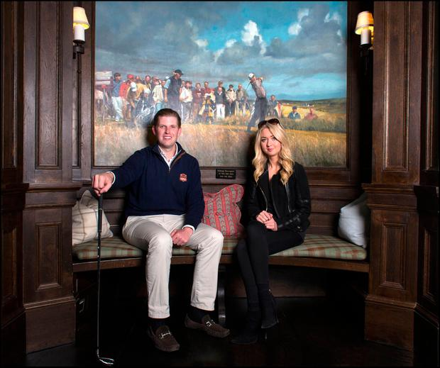 FLYING VISIT: Eric and Niamh chat at Doonbeg Photo: David Conachy