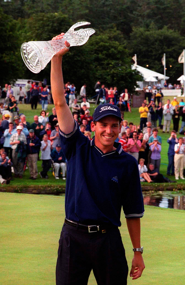 Garcia after winning the 1999 Irish Open, his first professional victory Photo: Patrick Donald/SPORTSFILE