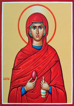 According to tradition, after Jesus ascended into heaven, Mary Magdalene boldly presented herself to Emperor Tiberius Caesar in Rome to proclaim the Resurrection, with an egg in her hand to illustrate her message.