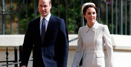 Britain's Prince William and Catherine, the Duchess of Cambridge, arrive at the Easter Sunday service in Windsor Castle, in Windsor, Britain, April 16, 2017. REUTERS/Peter Nicholls