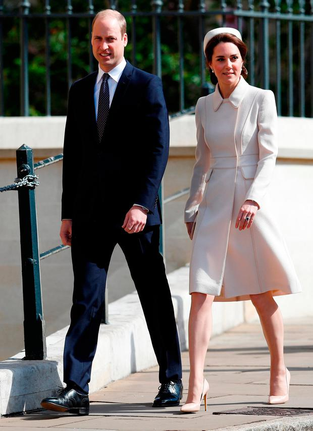 The Duke and Duchess of Cambridge arrive for the Easter Sunday service at St. George's Chapel at Windsor Castle in Berkshire
