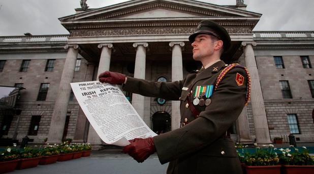 16/04/2017 Proclamation reader Captain Michael Barry from DFHQ during a 1916 commemoration ceremony at the GPO on O' Connell Street, Dublin. Photo: Gareth Chaney Collins