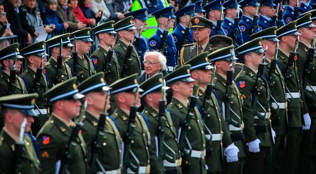 16/04/2017 President of Ireland Michael D Higgins inspects the Tri Service Guard of Honour during a 1916 commemoration ceremony at the GPO on O' Connell Street, Dublin. Photo: Gareth Chaney Collins