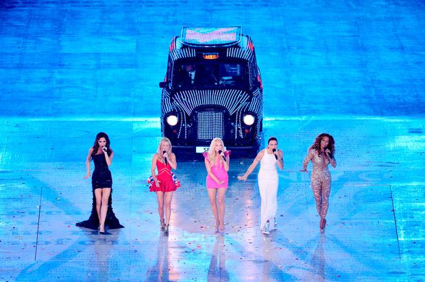 Victoria Beckham, Geri Halliwell, Emma Bunton, Melanie Brown and Melanie Chisholm of The Spice Girls perform during the Closing Ceremony on Day 16 of the London 2012 Olympic Games at Olympic Stadium on August 12, 2012 in London, England. (Photo by Stu Forster/Getty Images)